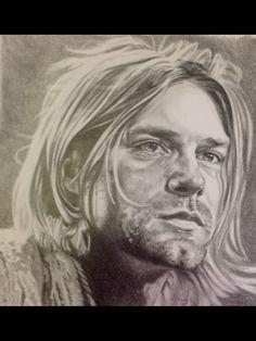 Portrait of Kurt Cobain, graphite, by Lydia Quayle