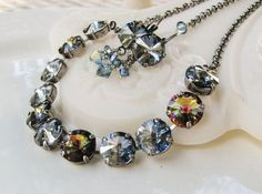 New w/Swarovski Rivoli Denim Blue/Peacock Coated Crystal Necklace & Earring Set #HisJewelsCreationsDesign