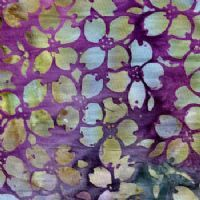 Blue Flowers on Purple Batik - New Island Batiks