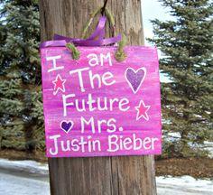 MRS. JUSTIN BIEBER Barn Wood Sign Hand Painted Plaque Girls Teens Gift Wall Room Cute Hot Pink Bedroom Decor Handpainted Music  Boyfriend. $16.50, via Etsy.