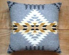 Pendleton Wool Fabric Pillow - Silver Native Geometric Tribal Southwest Western