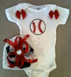 Baseball onesie set for baby girls with matching beanie hat with baseball boutique bow. $36.00, via Etsy.
