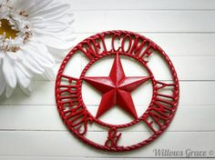 Metal Welcome Sign / Country Decoration / by WillowsGrace on Etsy