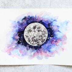 Galaxy Planeten Aquarell Watercolor Universe Moon Mars Venus Jupiter