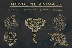 MONOLINE ANIMALS BUNDLE V.2 by vrozdesigns on @creativemarket
