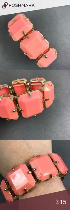 Funk Chunky salmon pink stretch bracelet Funky and fun large faux rhinestone stretch bracelet Salmon pink color From pet and smoke free location  Box2 Jewelry Bracelets