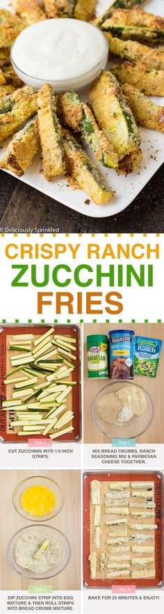 Crispy Ranch Zucchini Fries ~ Deliciously Sprinkled