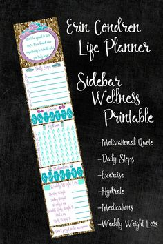 Wellness Sidebar Sticker Printable Planner by SouthernGypsyD Erin Condren Lifeplanner Sticker