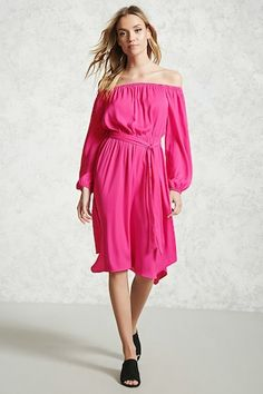 Forever 21 Contemporary - A satin dress featuring an off-the-shoulder neckline, long sleeves with elasticized cuffs, and an elasticized waist with a removable belt.