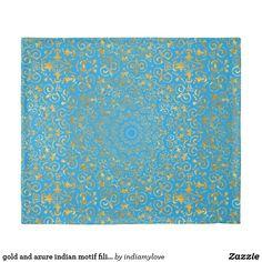 gold and azure indian motif filigree duvet cover