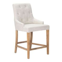 The Burbank Bar chair has a plush seat with beige polyester linen fabric; while the back is accented in button tufted details in soft polyblend beige fabric. Frame is antiqued oak wood. Counter Height Bar Stools, Counter Chair, Counter Top, Chaise Bar, Bar Furniture, Royal Furniture, White Furniture, Furniture Stores, Cheap Furniture