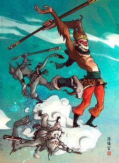 Monkey king cloudboarding... by *barontieri on deviantART