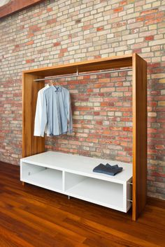 The Kambala wood dressing room has a white lacquered storage area for accesso … - Home Accessories Best of 2019 Closet Bedroom, Closet Space, Bedroom Decor, Attic Closet, Diy Furniture, Furniture Design, Hall Wardrobe, No Closet Solutions, Storage Solutions