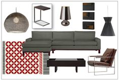 masculine red and brown living room