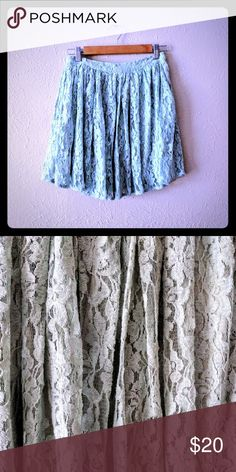 "Mint Skirt - 2nd Photo True Color EUC. 13"" waist and 17"" length. Has two layers. So beautiful! Skirts Circle & Skater"