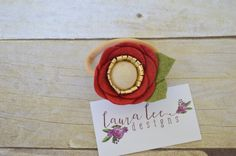 READY TO SHIP Deep Red and Gold Felt Flower by LauraLeeDesigns108