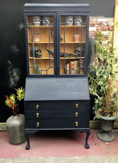 Bookcase bureau painted in oxford navy and Arles Navy Furniture, Colorful Furniture, Rustic Furniture, Painted Furniture, Chalk Paint Colors, Annie Sloan Chalk Paint, Restored Dresser, Interior Styling, Interior Design