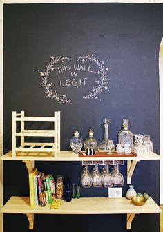 home bar (with some awesome chalkboard paint)