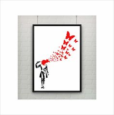 Suicide Girl with Butterflies by Banksy Print US Letter and A4 up to A0 size poster by frameitposters