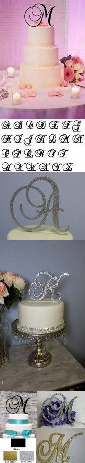 Monogram Inital Letter Acrylic Cake Topper Wedding A B C D E F G H I J K L M N O P Q R S T U V W X Y Z & (N, Glittery Silver)