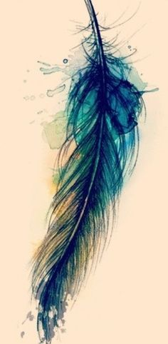 Watercolor Feather Tattoo Sample