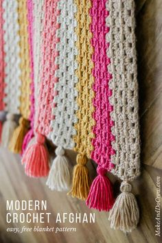 This modern crochet granny stitch blanket free pattern and tutorial is super easy. The tassels make it perfect for a baby nursery or a grown up couch! Made with Lion Brand Heartland yarn (an awesome worsted weight option!) ideas for beginners blanket Crochet Afghans, Afghan Crochet Patterns, Baby Blanket Crochet, Crochet Baby, Knitting Patterns, Modern Crochet Blanket, Modern Crochet Patterns, Crochet Ideas, Granny Stripe Blanket