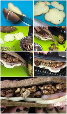 Σάντουιτς με Καραμελωμένο Κρεμμύδι, Μετσοβόνε & καρύδια Tacos, Food And Drink, Mexican, Breakfast, Ethnic Recipes, Morning Coffee, Mexicans