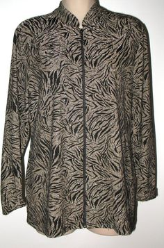 CHICO'S TRAVELERS Black & Gold Lurex Zip Tunic Jacket Sz 2 Large Misses 12  #ChicosTravelers #ZipJacket #Casualtodressy