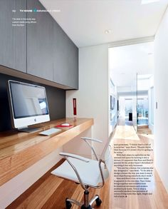 Grand Designs Australia: Series 3 · Episode 6 Study-bench made from floorboards & dark joinery - ano Grand Designs Australia, Office Nook, Study Office, Hallway Office, Home Office Storage, Desk Storage, Urban House, Home Office Design, House Design