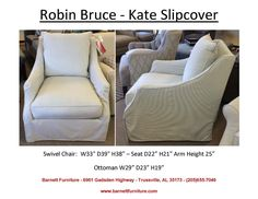 Robin Bruce Kate Slipcover Swivel Chair.  You Choose the Fabric