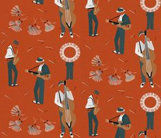 'Jazz men' custom made fabric design by English/Finnish designer Mirjamauno, © 2014.