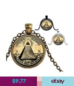 Necklaces & Pendants Masonic Freemason Necklace Pendant Mens Illuminati Horus Eye Ra Pyramid Glass #ebay #Fashion
