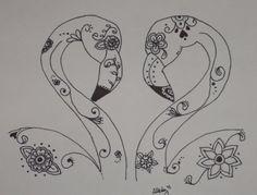 Sugar Skull Flamingos in Love Pen and Ink Drawing - 9x12