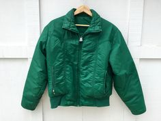 70's Roffe Down Skiwear Ski Jacket - Kelly Green - Women's Med to Large by ElkHugsVintage on Etsy