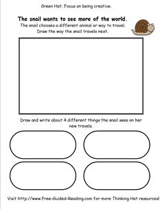 Snail And The Whale Activities - Green Thinking Hat - Where does the snail go next?