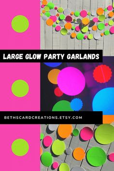 These large glow party garlands fluoresce under black light and are the perfect backdrop to your neon, 80s, or sweet 16 glow party.a Glow Party Decorations, Graduation Decorations, 80s Party, Halloween Party, Birthday Party Themes, Birthday Ideas, Blacklight Party, Paper Rosettes, Party Garland