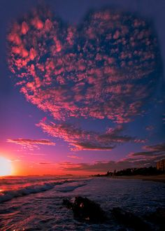 Love is in the Air ~ pink seascape. #Heart #ClouH....Ads Australia by Reedy Photography.HAPPY VALENTINES DAY