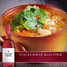 Stir up this tantalizing pairing: Sutter Home White Merlot and Tuscan White Bean Stew with Italian Sausage and Arugula.
