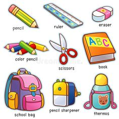 Find Vector Illustration Cartoon Back School Vocabulary stock images in HD and millions of other royalty-free stock photos, illustrations and vectors in the Shutterstock collection. Thousands of new, high-quality pictures added every day. Learning English For Kids, English Lessons For Kids, Kids English, English Language Learning, Toddler Learning, Teaching English, Language Arts, English Verbs, English Vocabulary Words