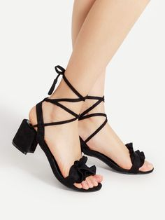 Shop Ruffle Design Lace Up Block Heeled Sandals online. SheIn offers Ruffle Design Lace Up Block Heeled Sandals & more to fit your fashionable needs.