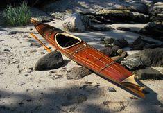 Fire Star wood strip kayak Aleutian Style Baidarka, baidarka plans, designed by… Wooden Kayak, Wooden Boats, Canoe And Kayak, Kayak Fishing, Canoe Plans, White Water Kayak, Kayaking, Canoeing, Boat Design
