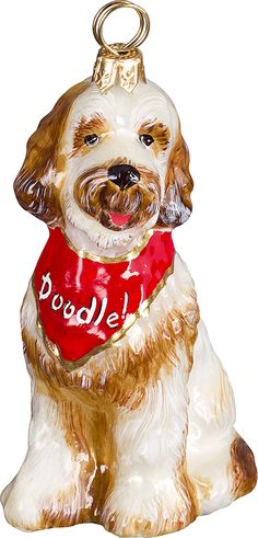 The Pet Set Goldendoodle with Bandana Glass Christmas Ornament - Handcrafted in Europe by Joy to the World Collectibles