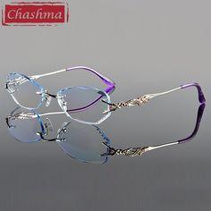 da5925a93e Chashma Luxury Tint Lenses Myopia Glasses Reading Glasses Diamond Cutting  Rimless Prescription Glasses for Women Review