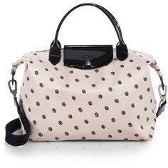 Longchamp Le Pliage Neo Medium Polka-Dot Satchel ($260) ❤ liked on Polyvore