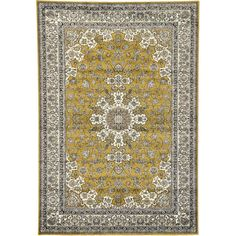 Unique Loom Isfahan Gold Area Rug--probably too big but the colors work.  $149 at Wayfair