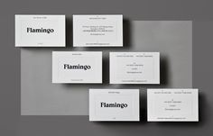 Brand Identity and blind embossed business cards for Flamingo by Bibliotheque, United Kingdom
