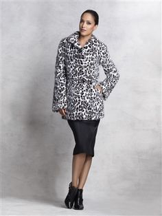 Dyed Snow Leopard Animal Print Mink Sections Fur Coat #stylish #coat #fur #outwear at Flemington Furs - available online at FlemingtonFurs.com