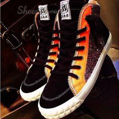 Fabulous Genuine leather Assorted Color Paillette Lace-up Sneaker