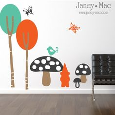Wall Decal Modern Trees with Gnome and Mushrooms Birds Butterflies - Birch Trees - Vinyl Wall Art Children Bedroom Nursery - CT129. $75.00, via Etsy.