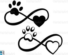 Infinity with paw and heart Cutting Files / Clipart Svg Png Jpg Eps Dxf Pdf Digital Graphic Design I Band Tattoos, Dog Tattoos, Sexy Tattoos, Flower Tattoos, Body Art Tattoos, Print Tattoos, Small Tattoos, Tatoos, Tattoo Gato